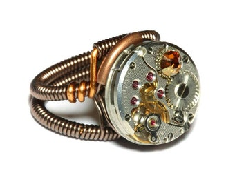Steampunk ring, Steampunk Jewelry - Watch Movement Steampunk Ring with copper crystal