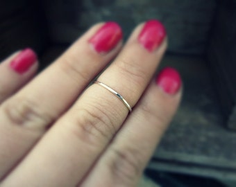 Skinny sterling silver midi ring - stackable ring - hammered ring - simple band - skinny stacking ring - minimalist - knuckle ring - ethnic