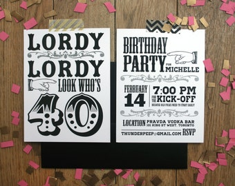 Custom 40th Birthday party invitations