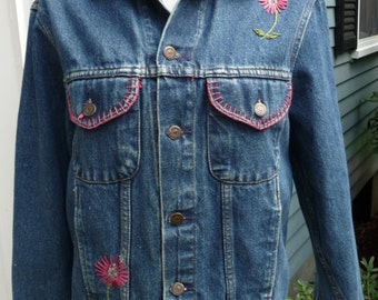diy GAP Embroidered Jean Jacket- Womens Blue Denim Coat- Flower Design Embroidery - Classic American Boho Bohemian Style- Made USA 1980s 80s