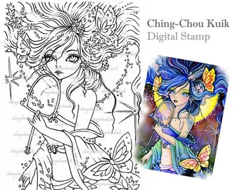 Butterfly Enchantress - Digital Stamp Instant Download / Fantasy Kimono Mermaid Art by Ching-Chou Kuik