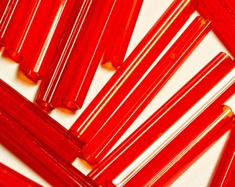 Art Deco,Scarlet Red Glass,Tubular Stick Beads,Vintage Supplies, 3cm long ( 1-1/4ins ) Ideal for Dangle Earrings(15pcs)