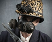 """Steampunk Gas Mask Respirator in black iron colors """"Infiltrator"""""""