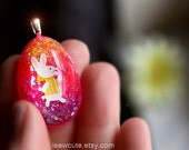 Easter Necklace, Girls Cute Easter Egg Shaped Colorful Springtime Easter Bunny Glitter Resin Necklace, Easter Jewelry handmade by isewcute