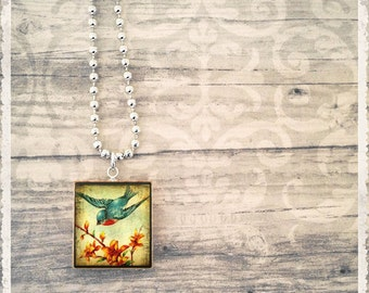 Scrabble Piece Necklace - Vintage Blue Swallow - Scrabble Pendant Jewelry - Customize - Wearable Art by Lisa Owens