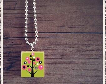Scrabble Tile Art Pendant - Retro Green Tree - Scrabble Jewelry Charm- Wearable Art by Lisa Owens