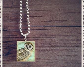 Scrabble Necklace - Vintage Blue Owl - Scrabble Pendant Jewelry Art Charm -Customize
