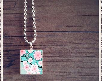 Scrabble Game Tile Necklace - Sakura Flowers - Scrabble Pendant Charm Jewelry - Customize