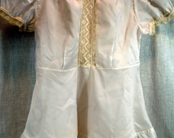 Vintage Nylon Dress Toddler Girl Christening Gown Outfit