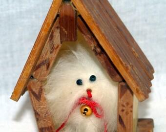 Fuzzy Dog in House Rabbit Fur Vintage