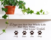 Personalized Pet Name Vinyl Wall Decal Words with Paw Prints  Custom name Wall Decal Pet Memorial Paw Print Vinyl Decals