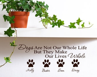 Personalized Pet Name Vinyl Wall Decal, Pet Gift, Pet Name Sticker, Paw  Prints