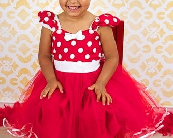 MINNIE MOUSE dress TUTU  Party Dress  in Red Polka Dots super twirly  dress 1st Birthday party baby costume