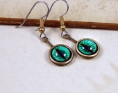 Serpent Eyes -- Handmade Brass Earrings