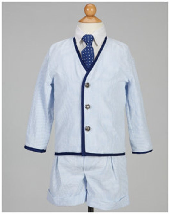 Boys Blue Cotton Seersucker Stripped Ring Bearer Suit, Special Occasion Boys Suit, Stripped Ring Bearer Outfit