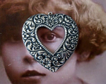 Sterling Silver Ox Plated Brass Floral Heart Pendant 435SOX x1