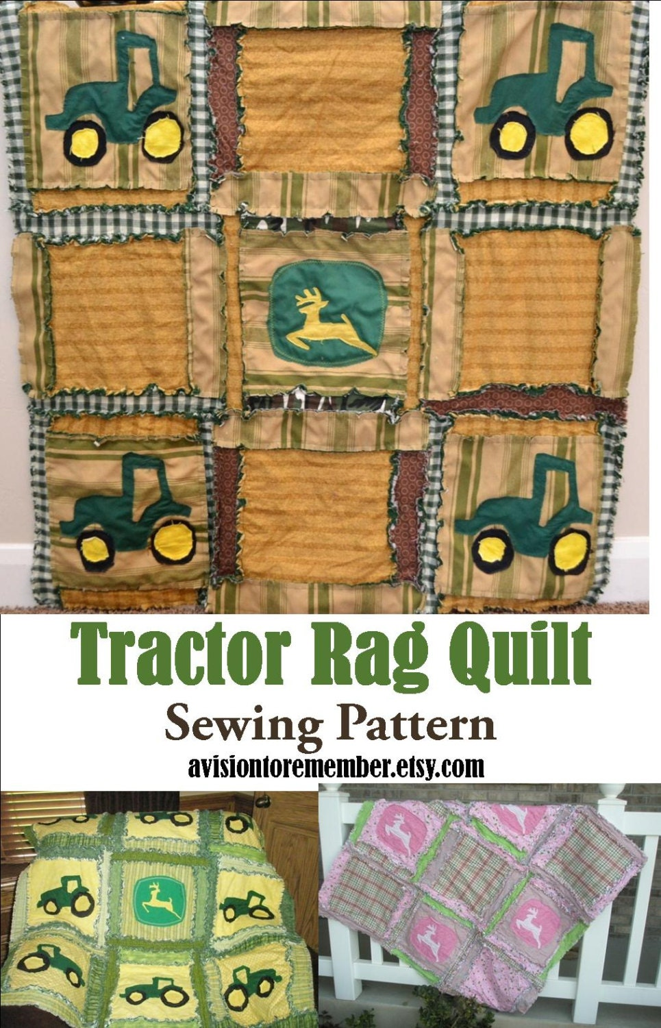 Tractor Rag Quilt PATTERN Baby Blanket SEWING by avisiontoremember
