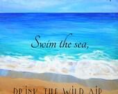 Printable Quotes, Beach art, Ocean art print, Live in the Sunshine,  Kauai art, Hawaii art, Instant Download,  DIY Printable PDF, emerson