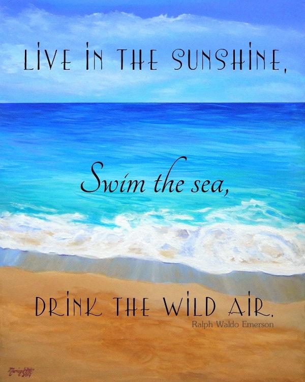 Printable Quotes Beach Art Ocean Art Print Live In The