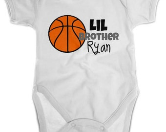 Little Brother Basketball Shirt or Bodysuit - Personalized Sibling Shirt