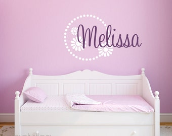 Girls Name Decal Flower Border - Wall Decal Nursery - Childrens Wall Decal - Flower Decal