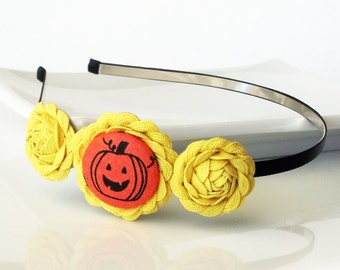 Jack o' Lantern - HEADBAND - ric rac rosettes, covered button - black, orange, yellow - Halloween