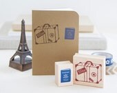 Bon Voyage Rubber Stamp Set - Vintage Suitcase Luggage and Passport - Destination Wedding Travel Scrapbook Getaway Girls Trip