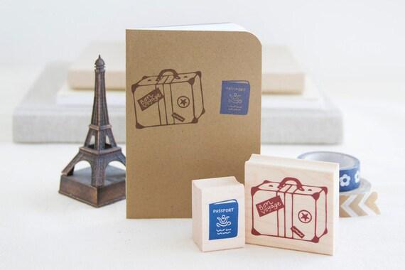 Bon Voyage Rubber Stamp Set - Vintage Suitcase Luggage and Passport - Destination Wedding Travel Scrapbook Getaway Girls Trip