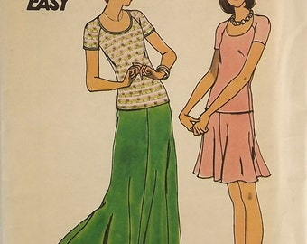 Vintage 70's Sewing Pattern, Top and Skirt, Size 10