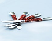 CUSTOM Beaded Spreader In Red, Black, Gold - CHRISTMAS Table Knife, Appetizer, Holiday Cheese Knives