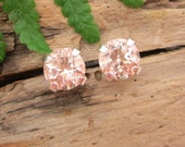 RESERVED: Morganite Earrings in Silver with Genuine Gems, 6mm - Free Gift Wrapping