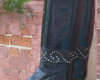 80s Studded Black Leather Boots by Charles David in an estimated US Size 8