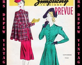 3 1930's Vintage Sewing Pattern Catalogs Simplicity Prevue From Winter, 1939 -INSTANT DOWNLOAD-