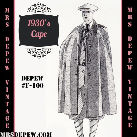 Men's Vintage Reproduction Sewing Patterns 1930s Mens or Ladies Cape in Any Size Depew F-100 - Plus Size Included -INSTANT DOWNLOAD- $9.50 AT vintagedancer.com