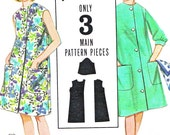 1960s Dress Pattern Butterick 3227 Quick 'N Easy Beach Dress Front Button Shift Dress Womens Vintage Sewing Pattern Junior Teen Bust 31
