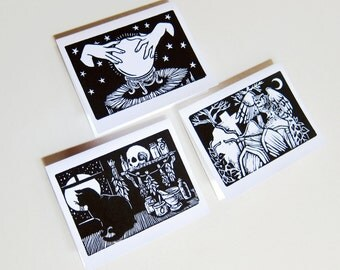 Halloween Set of Note Cards / Trio of Linocut Cards