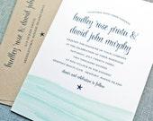Hadley Watercolor Waves Beach Starfish Wedding Invitation Sample - Aqua Blue Waves Wedding Invitation