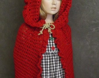 Clothing, Children, Red Cape, Hooded Cape, Little Girls, Toddlers,One Size,Red Riding Hood, Halloween,Valentine's Day,Cloak