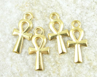 TierraCast Ankh Charms - Bright Gold Charms - Egypt Egyptian Ankh Tierra Cast Gold Ankh (P875G)