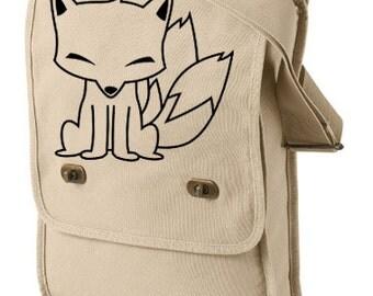 Kitsune Fox Messenger Field Bag - japanese fox bag cute kitsune gothic pastel goth kawaii furry anime bag