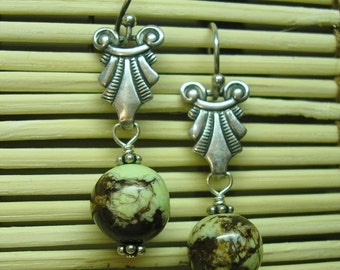Art Deco Dangle Earrings, Sterling Silver with Green & Brown Variscite Beads!