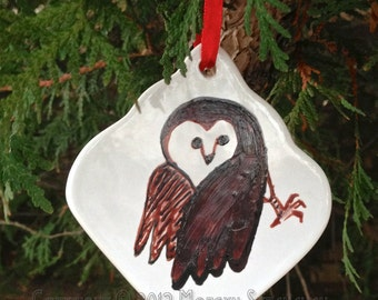 Hand painted ornament, Barn Owl