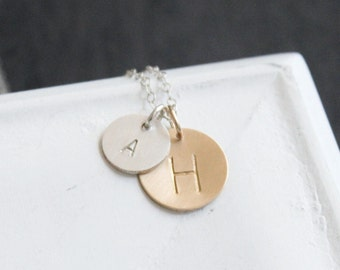 Personalized Necklace//  Mixed Metal Silver & Gold Necklace// Hand Stamped Necklace// Two Initials Personalized Necklace