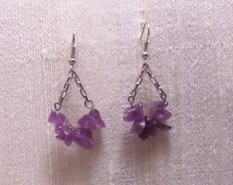 Amethyst Trapeze Earrings Silver