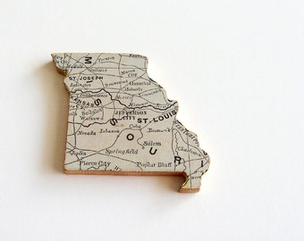Missouri Brooch - Lapel Pin / Upcycled Antique 1907 Rand McNally Wood Piece / Unique Wearable History Gift Idea / Timeless Gift Under 50