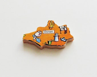 DORSET England Brooch - Lapel Pin / Orange Wood Brooch / Upcycled 1960s Wood Puzzle Piece / Wearable History Pin / Unique Gift Under 25