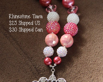 SALE 25% off! Rhinestone Princess Tiara Crown Chunky Bubblegum Necklace RTS