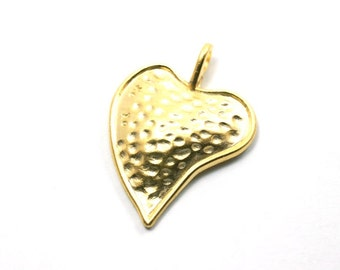 1pc -Matte Gold Plated Dotted Dome Heart Charm-36x29mm (015-003GP)