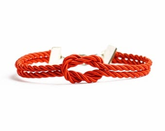 Red forever knot nautical rope bracelet with silver or gold anchor charm