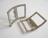 Pair 1950's Shoe Buckle Silver Tone White Rhinestones Large Rectangular Shoe Clip Back Thennish Vintage